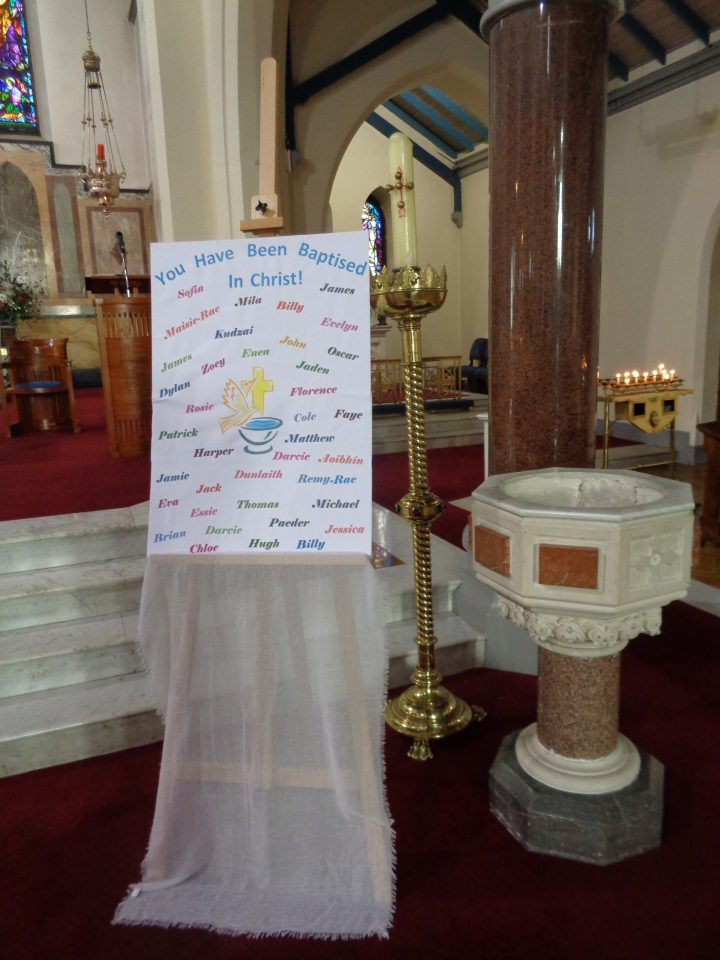 Banner Listing Those Baptised in 2017
