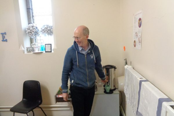 Fr. David PP Preparing the Tea at the Kingdom Cafe
