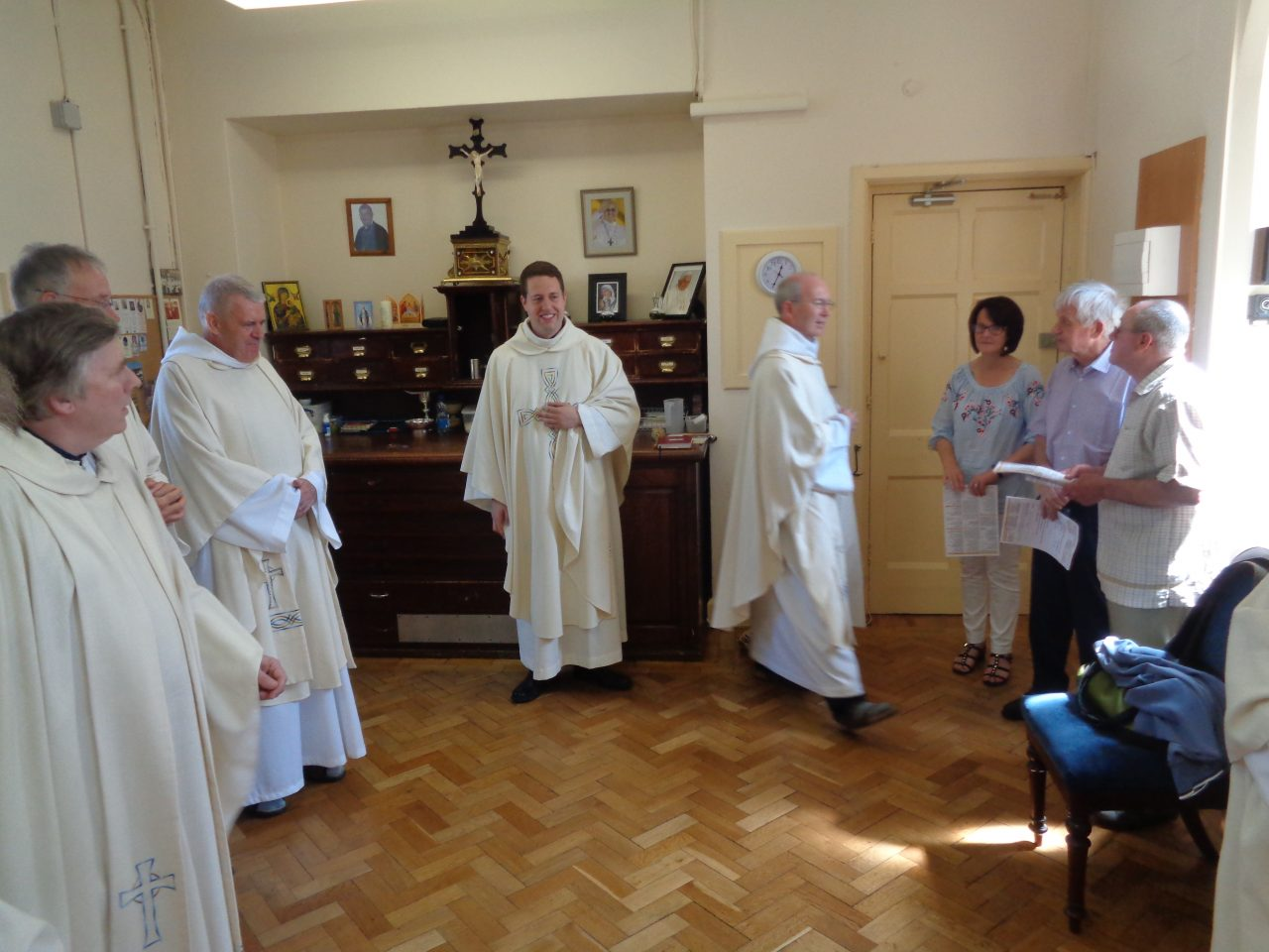 Priests and Parishioners in the Sacristy before Fr. Tom's First Mass