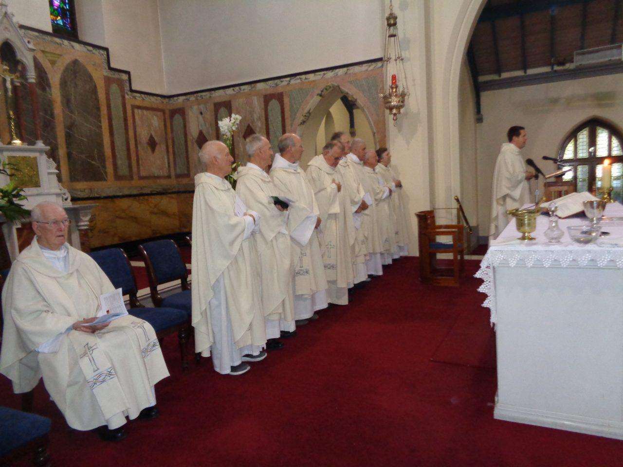 Marist Confreres Concelebrating Fr. Tom's First Mass