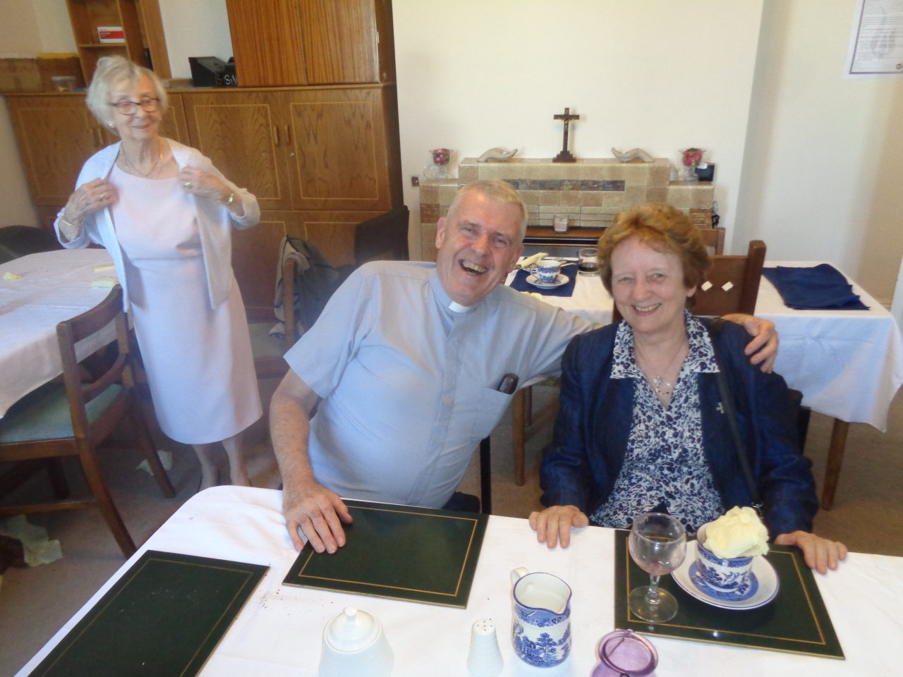 Fr. Paul Walsh SM and a Marist Sister at the Lunch after Fr. Tom's First Mass