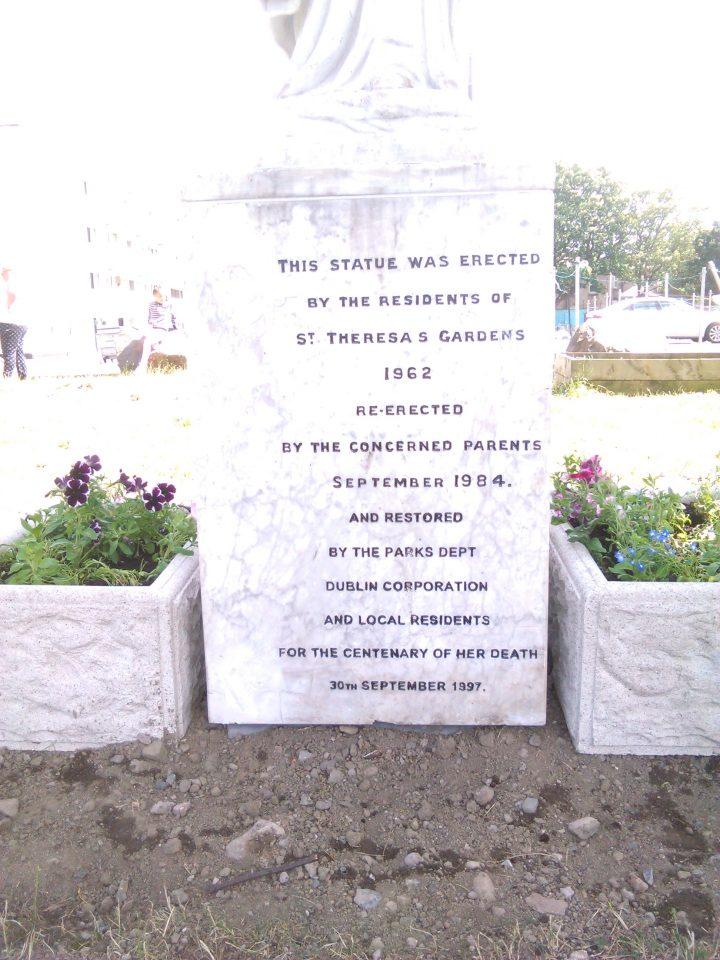 Plinth of St. Teresa's Statue in St. Teresa's Gardens